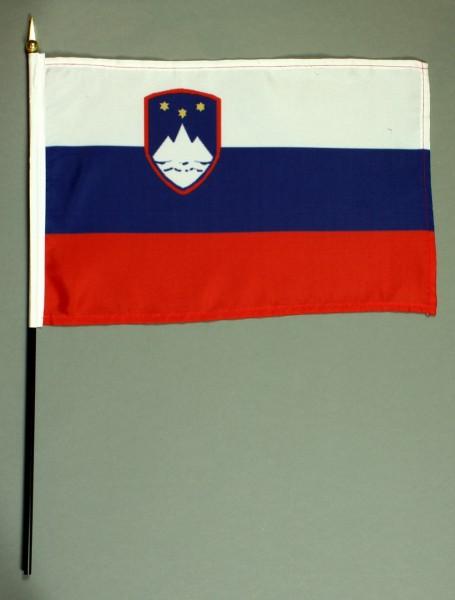 Tischflagge Slowenien 20x30 cm optional mit Tischflaggenständer aus Mahagoni Holz