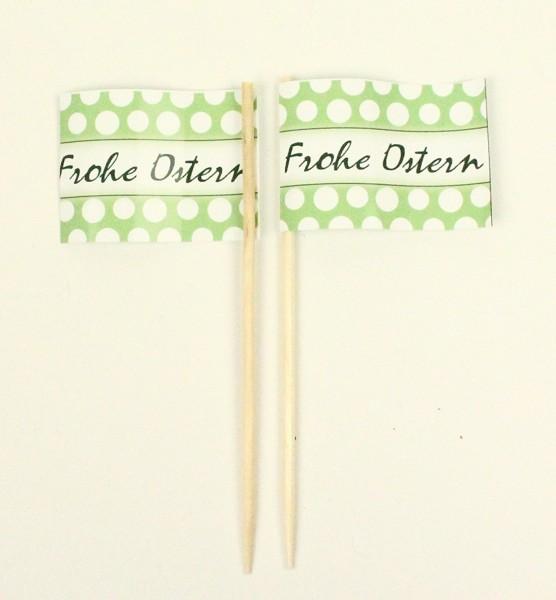 Party-Picker Flagge Frohe Ostern grün Kreise Papierfähnchen in Spitzenqualität 50 Stück Beutel