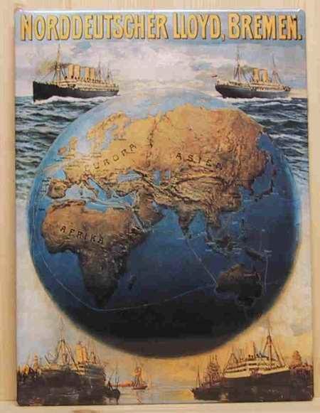 Blechschild Norddeutscher Lloyd Bremen Weltkugel Globus Dampfer Reedereiplakat Schiff Schild Nostalg