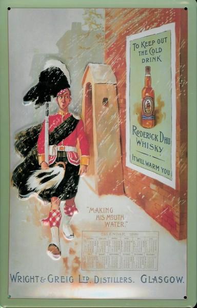 Blechschild Wright & Greig Whisky Dudelsack Kilt Schottland Schild Nostalgieschild