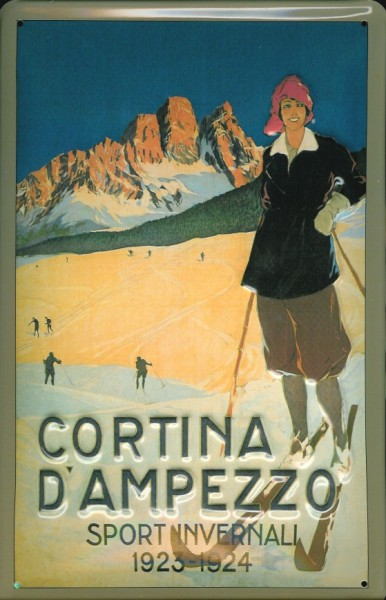 Blechschild Nostalgieschild Cortina d' Ampezzo Italien Ski