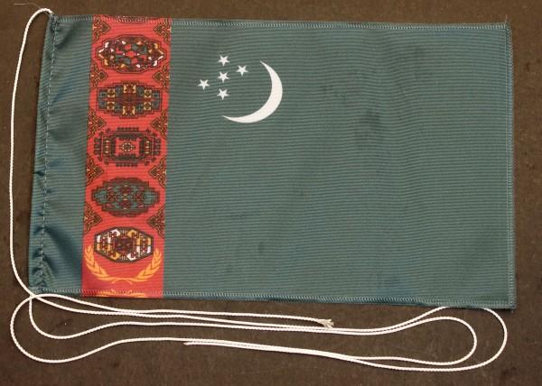 Tischflagge Turkmenistan 25x15 cm optional mit Holz- oder Chromständer Tischfahne Tischfähnchen