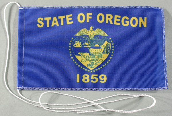 Tischflagge Oregon USA Bundesstaat US State 25x15 cm optional mit Holz- oder Chromständer Tischfahne