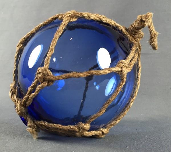 Deko Fischerkugel aus Glas blau 15 cm Tauwerk Netz