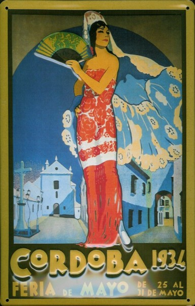 Blechschild Nostalgieschild Cordoba 1934 Lady Spanien