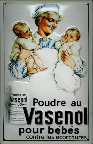 Blechschild Vasenol Kinder Puder Poudre au vasenol pour bébés Schild retro Werbeschild Nostalgieschi