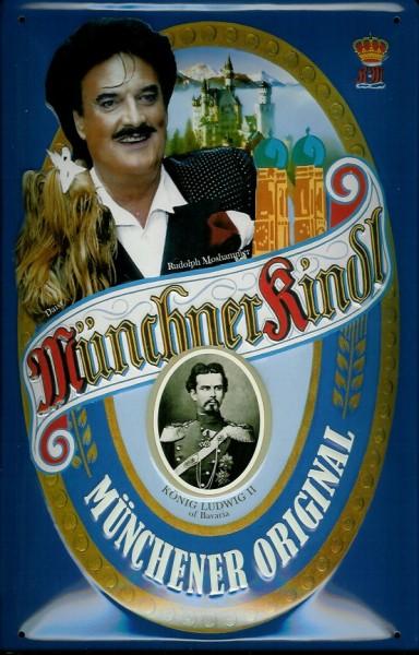 Blechschild Münchner Kindl Bier Rudolf Mooshammer München retro Schild Kneipenschild