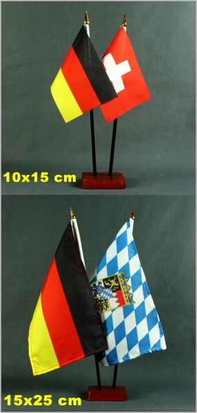 Tischflaggenständer - Sockel 2-fach Holz Mahagoni - farben für BASIC 10x15cm und 15x25cm Tischflagge