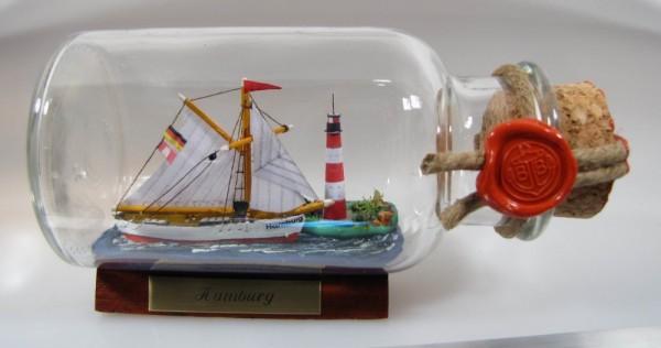 Möwe mit Landschaft rundes Gewürzglas 0,25 Liter Buddelschiff Flaschenschiff