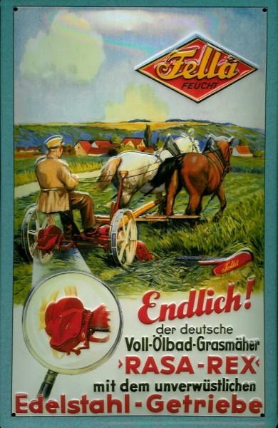 Blechschild Nostalgieschild Fella Rasa Rex Grasmäher Rasenmäher