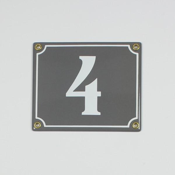 4 grau Clarendon 14x12 cm sofort lieferbar 2-stellig Schild Emaille Hausnummer