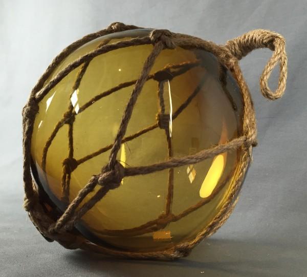 Deko Fischerkugel aus Glas braun amber 17 cm Tauwerk Netz
