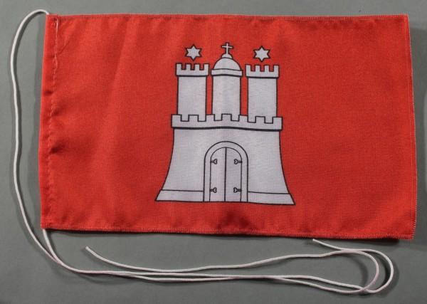 Tischflagge Hamburg 25x15 cm optional mit Holz- oder Chromständer Tischfahne Tischfähnchen