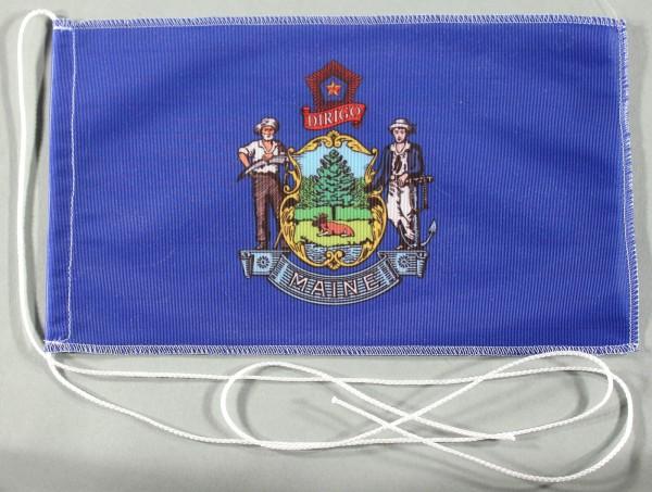 Tischflagge Maine USA Bundesstaat US State 25x15 cm optional mit Holz- oder Chromständer Tischfahne