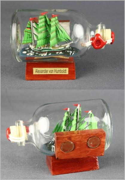 Buddelschiff Alexander von Humboldt 7,2x4,5 cm Kühlschrankmagnet mit 2 Stück 10x3 mm Neodym Magnet S