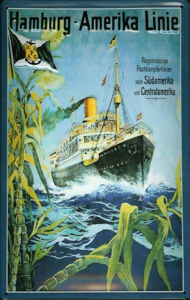 Blechschild Hamburg Amerika Linie Central Amerika Dampfer Schiff Schild Nostalgieschild