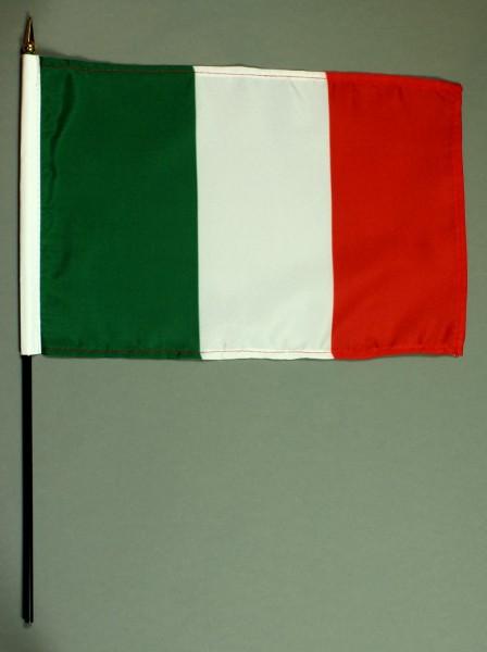 Tischflagge Italien 20x30 cm optional mit Tischflaggenständer aus Mahagoni Holz