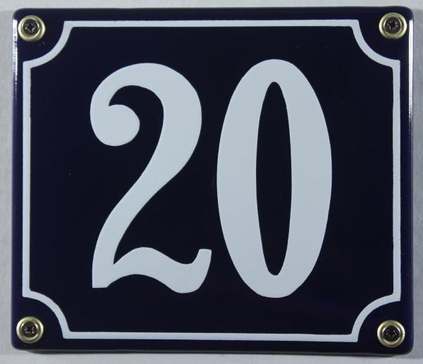 Hausnummernschild Emaille 20 blau - weiß 12x14 cm sofort lieferbar Schild Emaile Hausnummer Haus Num