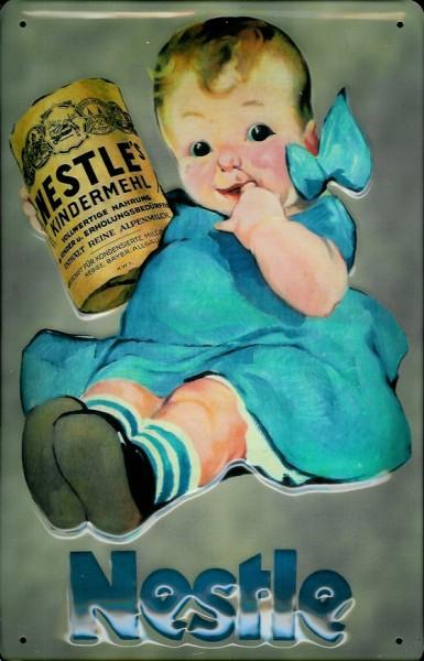 Blechschild Nestle Kindermehl Kleinkind Schild Nostalgieschild