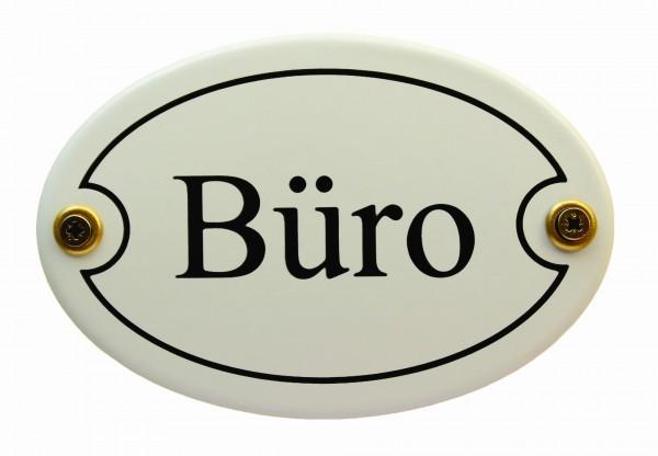 Emaille Türschild Büro weiss oval Schild Emailleschild Metallschild Blechschild