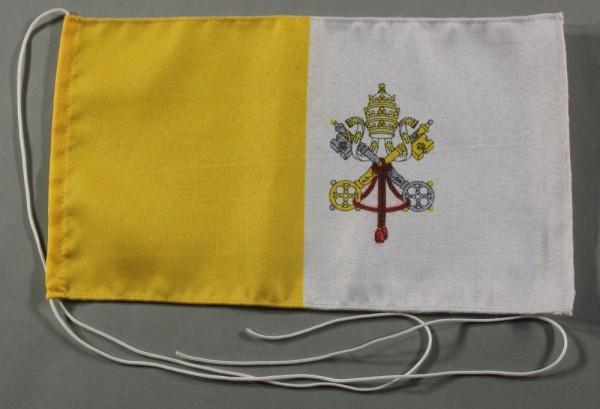 Tischflagge Vatikan 25x15 cm optional mit Holz- oder Chromständer Tischfahne Tischfähnchen