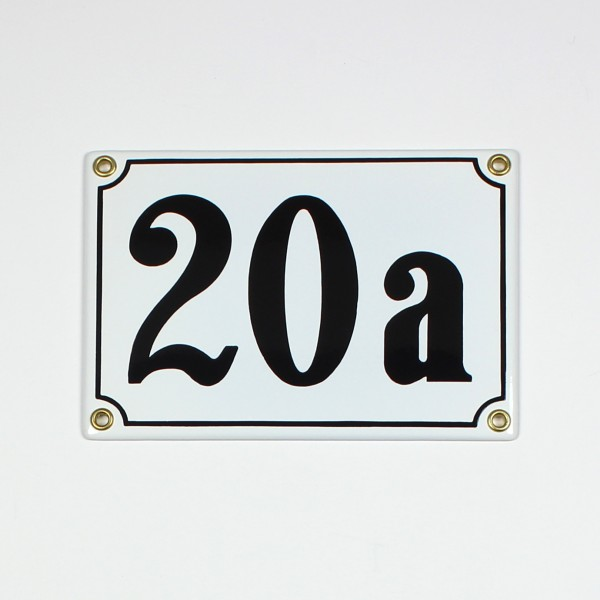 20a weiß Clarendon 18x12 cm sofort lieferbar 3-stellig Schild Emaille Hausnummer