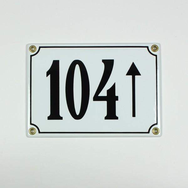 104 Pfeil geradeaus weiß 17x12 cm sofort lieferbar 3-stellig Schild Emaille Hausnummer