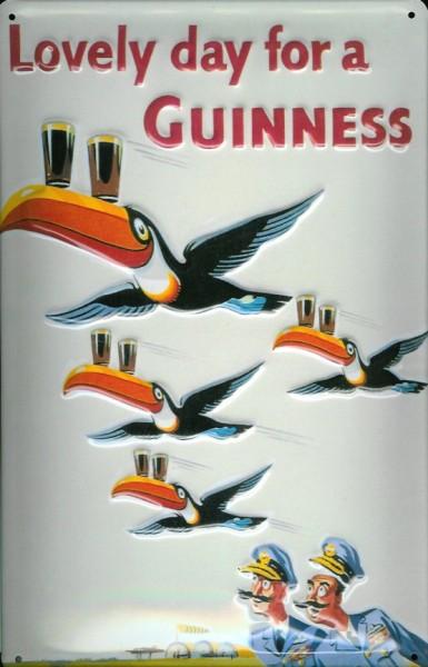 Blechschild Guinness Bier Lovely Day for a Guinness Piloten Toucan Schwar Tukan Schildm