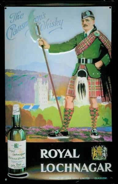 Blechschild Royal Lochnagar Scotch Whisky Schotte Kilt retro Schild