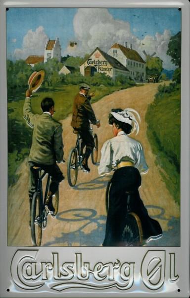 Blechschild Carlsberg Bier Radfahrer Fahrrad Brauereiwerbung retro Schild