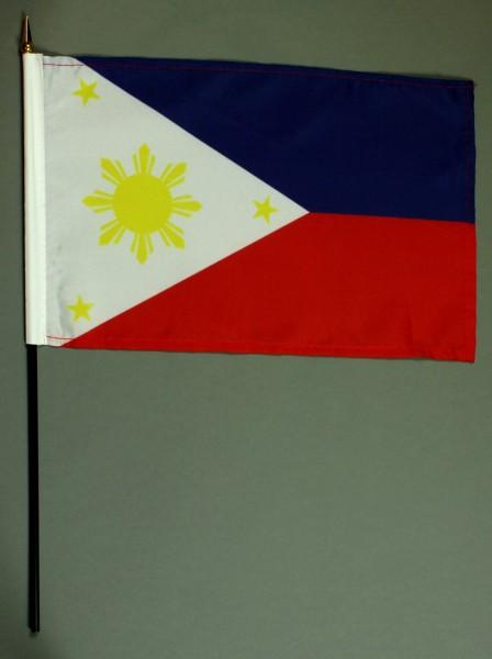 Tischflagge Philippinen 20x30 cm optional mit Tischflaggenständer aus Mahagoni Holz