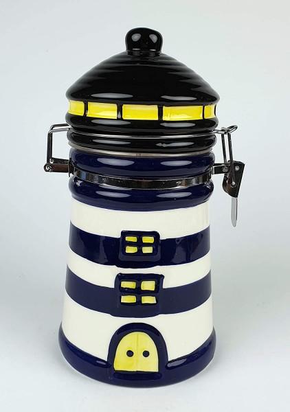 Vorratsdose Leuchtturm blau weiß Keramik Kaffeedose Dose Vorratsbehälter