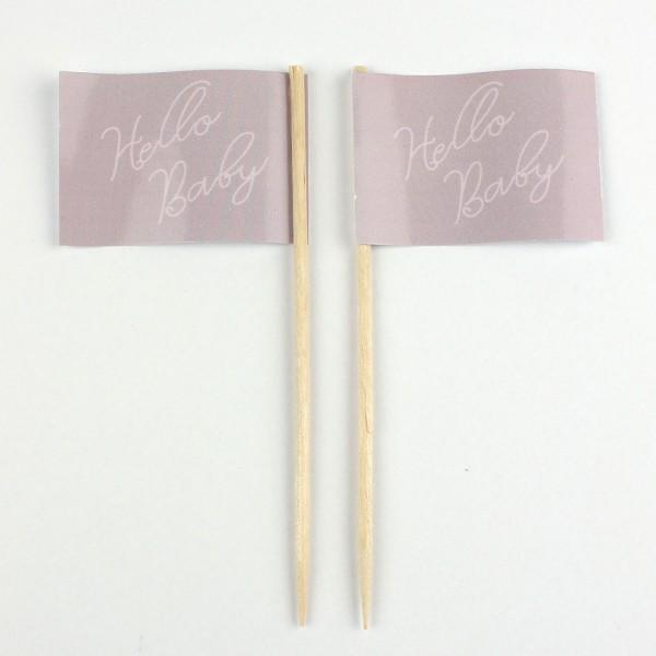 Party-Picker Flagge Hello Baby Altrosa Papierfähnchen in Spitzenqualität 50 Stück Beutel