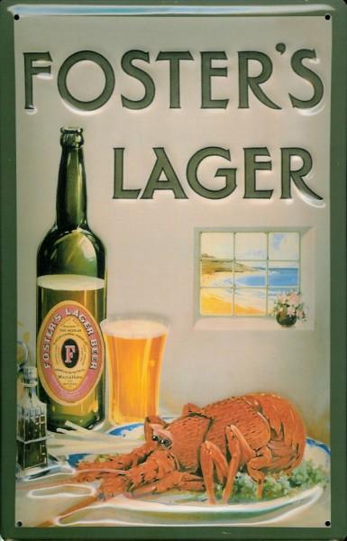 Blechschild Fosters Lager Bier Beer Schild Hummer Lobster retro Werbeschild Australien