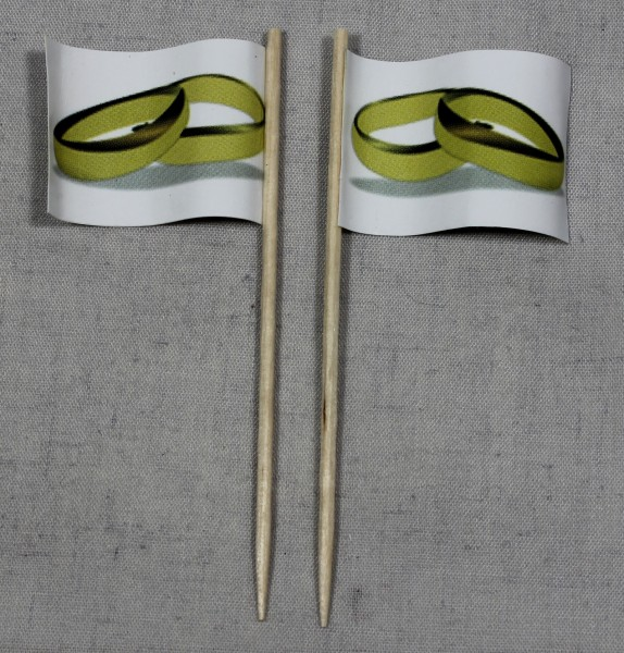 Party-Picker Flagge Hochzeit (3) Ringe Eheringe Papierfähnchen in Spitzenqualität 50 Stück Beutel