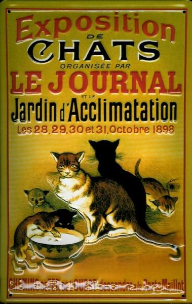 Blechschild Nostalgieschild : Exposition Chats Katzen Ausstellung 1898 Katze