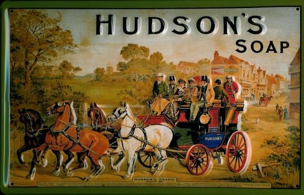 Blechschild Hudson Soap Pferdekutsche Seife Pferd Schild retro Werbeschild Nostalgieschild