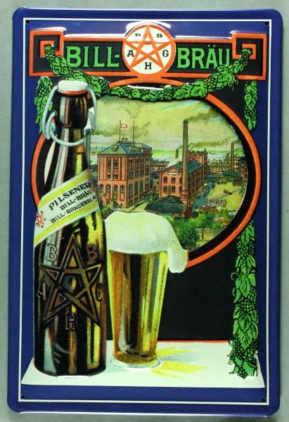 Blechschild Bill Bräu Bier Hamburg Flaschenbiere retro Schild Werbeschild