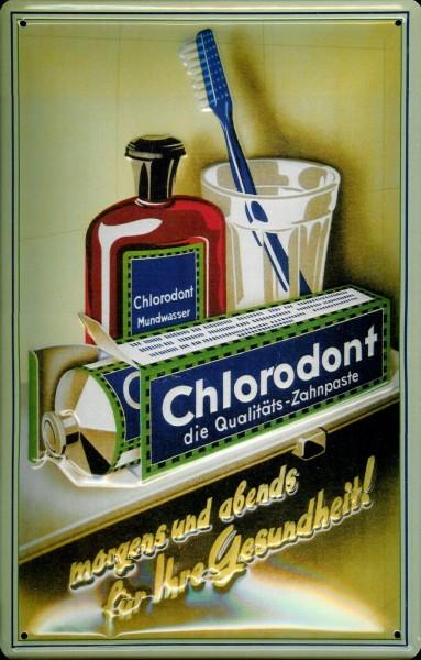 Blechschild Chlorodont Mundwasser Zahnpasta DDR VEB Leowerke Schild retro Werbeschild Ostalgie Ostpr