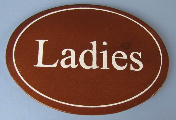 Ovales Holz - Türschild Ladies 7x10 cm dunkles Holzschild Toilette