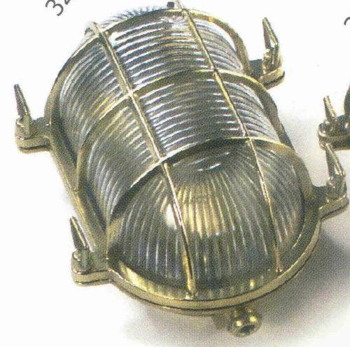 Gitterlampe Messing oval 195x135 mm Innenbefestigung 220 Volt (CHROM)