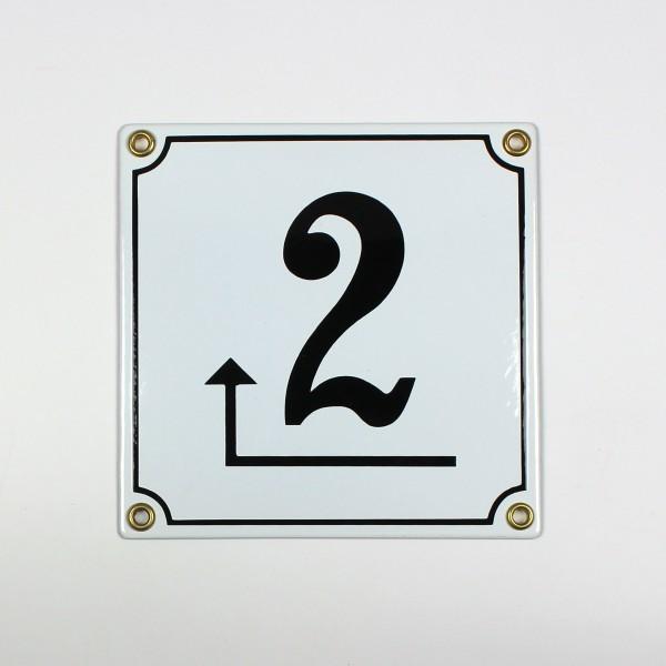 2 Pfeil links um die Ecke weiß Clarendon 14x14 cm sofort lieferbar Schild Emaille Hausnummer