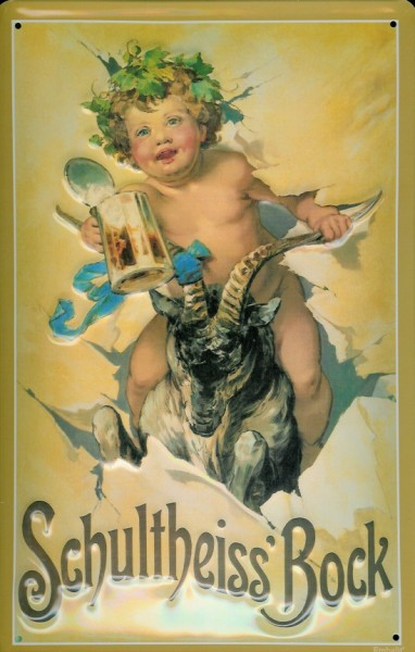 Blechschild Schultheiss Bock Bier Schild Engel nostalgisches Werbeschild