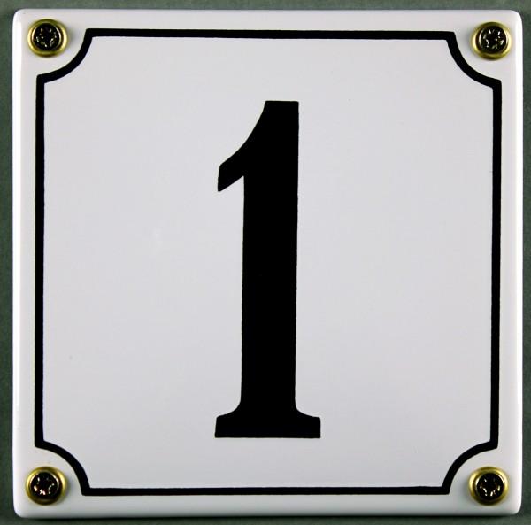 Hausnummernschild 1 weiß 12x12 cm sofort lieferbar Schild Emaille Hausnummer Haus Nummer Zahl Ziffer
