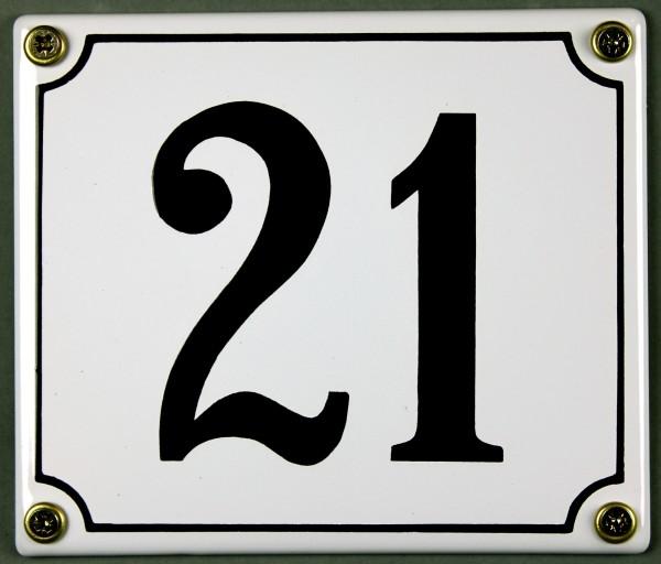 Hausnummernschild 21 weiß 12x14 cm sofort lieferbar Schild Emaille Hausnummer Haus Nummer Zahl Ziffe