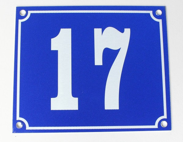 Hausnummernschild Aluminium Aluschild 1 mm Stärke Alu Schild Nr. 17 blau