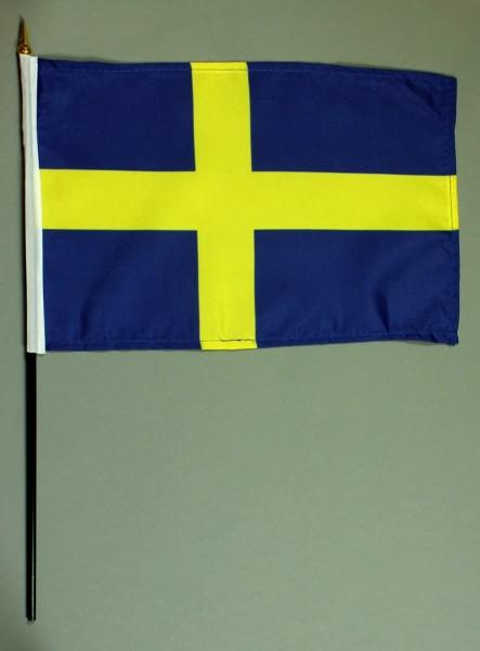 Tischflagge Schweden 20x30 cm optional mit Tischflaggenständer aus Mahagoni Holz