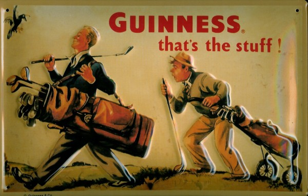 Blechschild Guinness Bier Golf Caddy Golfer Golfplatz Schild retro Reklameschild
