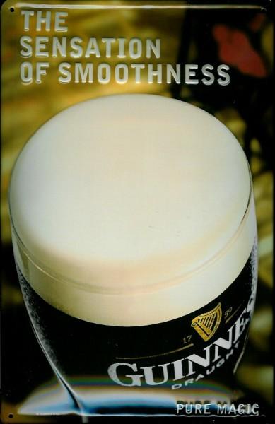 Blechschild Guinness Bier The sensation of smoothness Bierglas Schild Werbeschild