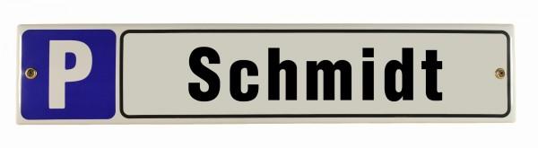 Parkplatz mit Wunschnamen 8 x 40 cm Straßenschild Text nach Wunsch Emaille Schild Emaile